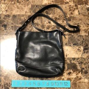 Coach Smooth Black Leather Adjustable Crossbody